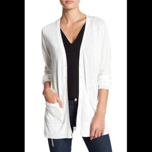 ABOUND Ivory White Sheer Button Cardigan L